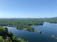View of Lake Megunticook from the top of Maidens Cliff in Camden, ME.